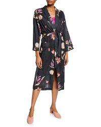 Nanushka - Kimo Floral-print Cotton Robe Dress - Lyst