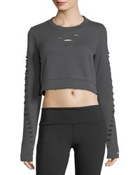 Alo Yoga | Ripped Warrior Long-sleeve Crop Top | Lyst