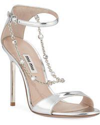 263852e6c7bb4c Miu Miu Women s Stiletto Heel Jeweled Leather Sandals - Bianco ...