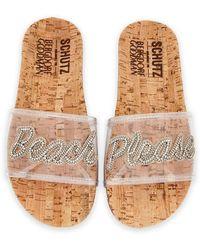 Schutz - Beach Please Flat Vinyl Slide Sandal - Lyst