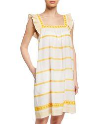 Tory Burch - Sleeveless Striped Embroidered Sun Dress W/ Ruffle Detail - Lyst