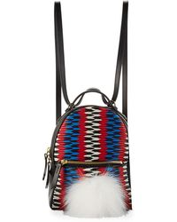 Les Petits Joueurs | Baby Mick Chevron Backpack With Fur | Lyst