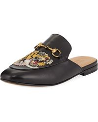 1ea8553b927 Lyst - Gucci Princetown Tiger-embroidered Loafer Mule in Black