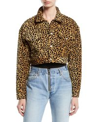 RE/DONE - Leopard-print Cropped Jacket - Lyst