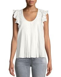 The Great - The Tulip Billowy-sleeve Pintuck Linen-cotton Top - Lyst