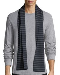 Vince - Striped Ribbed Wool Scarf - Lyst