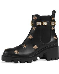 Gucci - Star And Bee Embroidered Boots - Lyst