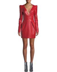 Alexandre Vauthier - Leather Mini Dress - Lyst