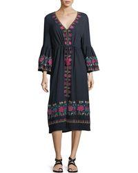 Figue | Junie Embroidered Midi Dress | Lyst