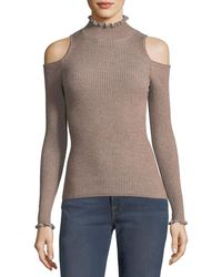 Rebecca Taylor - Open-shoulder Metallic Ribbed Pullover Sweater - Lyst