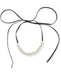Fallon | Monarch Pearly Leather Choker Necklace | Lyst