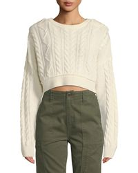 RE/DONE - Cropped Wool-cashmere Cable-knit Jumper - Lyst