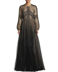 J. Mendel - Long-sleeve A-line Mesh Evening Gown W/ Lace - Lyst