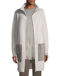 Lafayette 148 New York | Oversized Knit Cardigan Coat W/ Shearling Pockets | Lyst