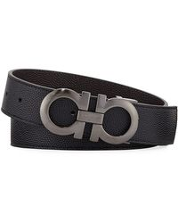Ferragamo - Men's Double-gancio Stamped Leather Belt - Lyst