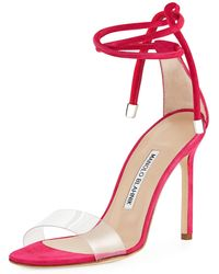 Manolo Blahnik - Estro Leather & Pvc Ankle-wrap Sandal - Lyst