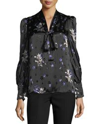 Rebecca Taylor | Long-sleeve Floral-print Tie-neck Top | Lyst