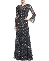 Jenny Packham - Long-sleeve Paillette-embellished Gown - Lyst