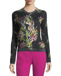 N°21 - Crewneck Multicolor Floral-print Sweater With Sequins - Lyst