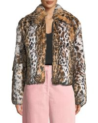 Cedric Charlier - Leopard-print Zip-front Cropped Jacket - Lyst
