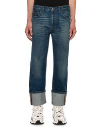 Valentino - Men's Relaxed-fit Cuffed-hem Jeans - Lyst