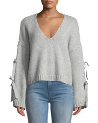 Cinq À Sept - Sidel Cropped Tie-sleeve Wool Sweater - Lyst