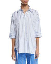 Derek Lam - Short-sleeve Button-down Striped Satin Shirt - Lyst