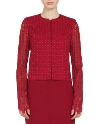 Akris - Sydney Round-neck Zip-front Embroidered Short Jacket - Lyst
