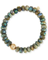 Sydney Evan - Mystic Dark Aqua Beaded Bracelet With Diamond Bezel Ball Charm - Lyst