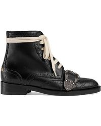 Gucci - Flat Queercore Lace-up Leather Boots - Lyst