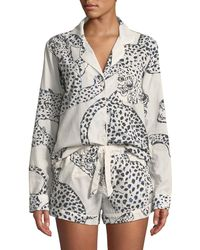 Desmond & Dempsey - Leopard Print Classic Short Pajama Set - Lyst