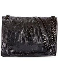 544ed1a9aa6 Saint Laurent - Niki Medium Ysl Monogram Crackled Calf Shoulder Bag - Lyst