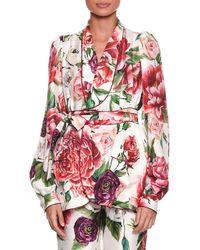 Dolce & Gabbana - Long-sleeve Rose Peony Belted Silk Pyjama Top - Lyst