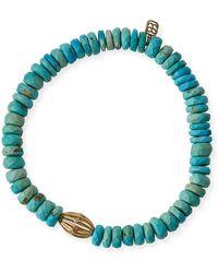 Sydney Evan | 8mm Turquoise Beaded Bracelet W/ 14k Diamond Ball Charm | Lyst