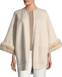 Agnona - Cashmere Coat With Mink Fur Cuffs - Lyst