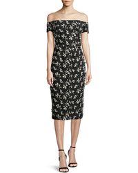 Lela Rose - Off-the-shoulder Bow-back Floral-embroidered Sheath Dress - Lyst