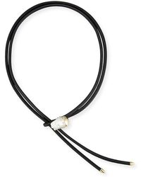 Mizuki - Leather Bolo Necklace With Baroque Pearl Slider - Lyst