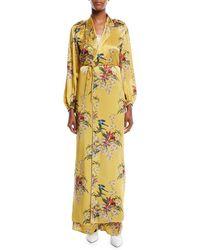 Johanna Ortiz - The Flower Queen Long-sleeve Tie-front Silk Satin Kimono Jacket - Lyst