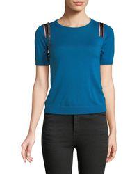 N°21 - Short-sleeve Wool-silk Sweater W/ Embellishments - Lyst