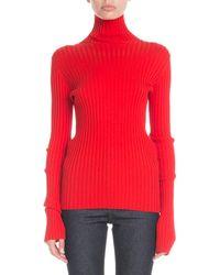 Victoria Beckham - Turtleneck Long-sleeve Ribbed-knit Sweater - Lyst