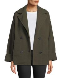 ATM - Horizontal Boucle Double Knit Double-breasted Boucle Pea Coat - Lyst