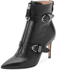 Gianvito Rossi - Napa Buckled Zip-front Ankle Bootie - Lyst