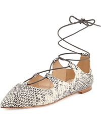 Loeffler Randall - Ambra Point Toe Snake-print Leather Lace-up Flats - Lyst