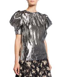 Michael Kors - Draped Metallic Puff-sleeve Blouse - Lyst