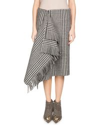 Balenciaga - Prince Of Wales Houndstooth Draped Wool Skirt With Fringe - Lyst