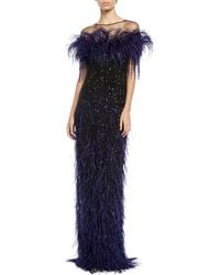 Pamella Roland - Feather & Sequined Illusion Gown - Lyst