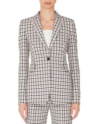 Akris Punto - One-button Long-sleeve Flap-pockets Tailored Glen-check Blazer - Lyst
