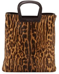 Ralph Lauren - Ocelot Leopard-print Calf Hair Horseshoe Tote Bag - Lyst