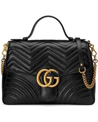 Gucci GG Marmont Medium Chevron Quilted Top-Handle Bag with Chain Strap SVMckKjD