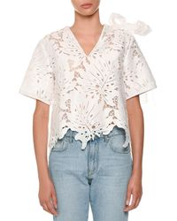 MSGM - Scalloped Lace Bow-shoulder Top - Lyst